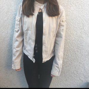 Old Navy Cream Button Neck Collar Denim Jacket szS